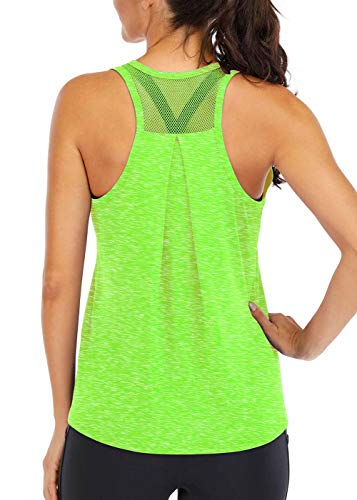 ICTIVE Workout Tops for Women Loose fit Racerback Tank Tops for Women Mesh Backless Muscle Tank Running Tank Tops Workout Tank Tops for Women Yoga Tops Athletic Exercise Gym Tops Green S