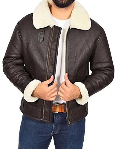 Chaqueta de piel de oveja auténtica para hombre, estilo bombardero, aviador B3 de la Segunda Guerra Mundial, de lana gruesa interior/interior, Chaqueta bomber marrón / B3, L