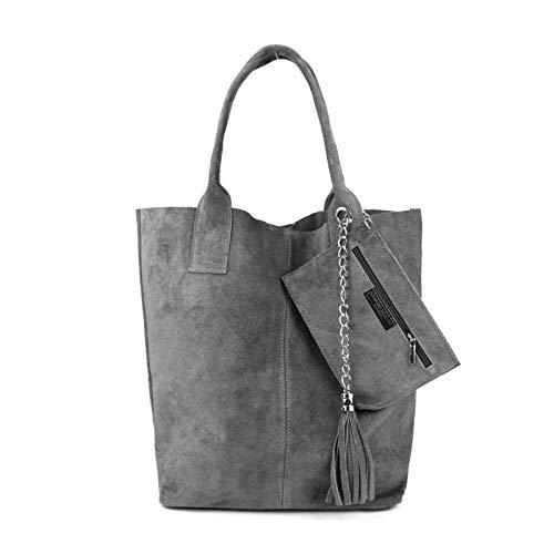 Made IN Italy Damen XXL Leder Tasche + Schmucktasche Handtasche Wildleder Shopper Schultertasche Fransen Umhängetasche Quaste Kette DIN-A4 Hobo Tote Bag Grau