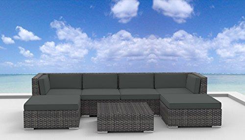 Hot Sale Urban Furnishing - MAUI 7pc Modern Outdoor Backyard Wicker Rattan Patio Furniture Sofa Sectional Couch Set - Charcoal