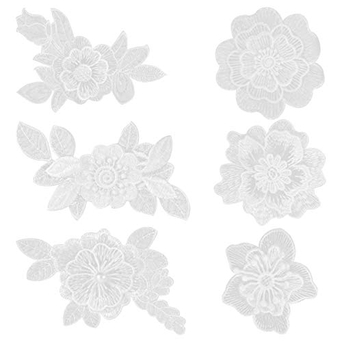 EXCEART 6pcs Iron on Patches White Lace Flower Shape Embroidered Patches Applique DIY Craft Decoration Sew On Patches for Clothes Jeans