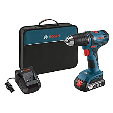 Bosch DDB181-102 18V Lithium-Ion 1/2  Compact Tough Drill/Driver with one Battery, Charger & Contractor Bag