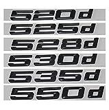 JINMEI Negro 520D 525D 528D 530D 535D 550D Tapa del Maletero Letras Emblema Emblemas Insignias para BMW 5 Series E39 E60 E61 F10 F11 (520D, Negro Mate)