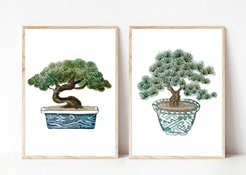Din A4 Kunstdruck ungerahmt 2-teilig - Bonsai - Bonsais - Baum Miniaturbaum Bäumchen - Asia Style - Japan Asien Aquarell Natur Druck Poster Bild