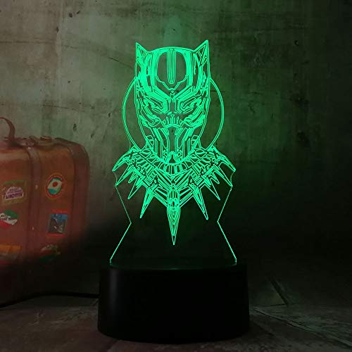 Led-nachtlampje, 3D-vision-zeven, kleuren-afstandsbediening, anime alliance, black panter, nachtlampje, kleur tafellamp, kindervakantie, geschenk, ruimtedecoratie, kindernachtlampje, slaapkamer