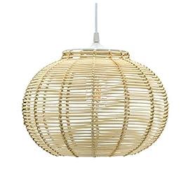 PINPOXE Luminaire Korba, suspension rotin, 60 W, naturel, ø 30 x H 23 cm