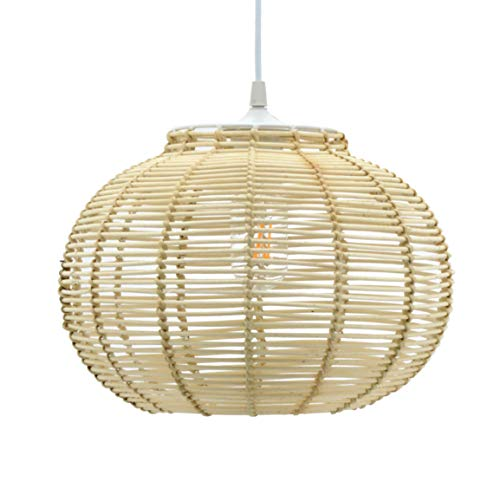Luminaire Korba, suspension rotin, 60 W, naturel, ø 30 x H 23 cm