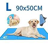 Shinyee Kühlmatten für Hunde Kühlmatte Hunde Katzen Kuhlmatte Hunde Kühlkissen und Katzen Kühl Hundedecke Kaltgelpad für Zuhause und Hunde Selbstkühlende Kühlunterlage Matte (L:90x50CM)