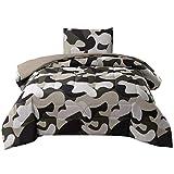 JQinHome Twin Camo Comforter Setsfor Boys Teens - All-Season Down Alternative Quilted Duvet - Reversible Design - Includes 1 Comforter, 1 Pillow sham ( Camo)