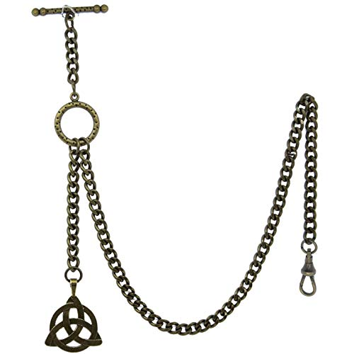 Albert Chain Antique Brass Color Pocket Watch Chain Vest Chain - 2 Ways Usage on Vests & Trousers or Jeans with Celtic Knot Design Fob T Bar ACT08A