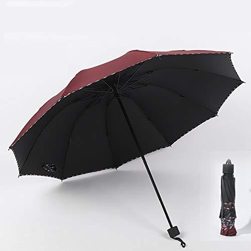 Automatische drievoudige tienbottenvergroting versterkte Vinyl zon paraplu, buiten zonschaduw, bergbeklimmen, vouwparaplu, dubbele ribben hebben betere windbestendigheid perfect cadeau 10k Bourgondy