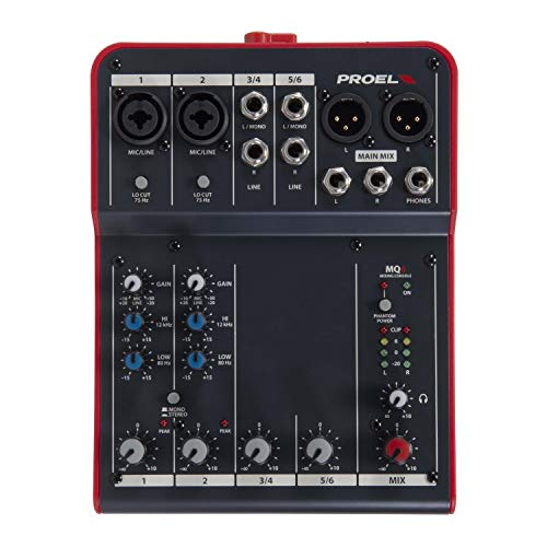 Proel MQ6 Stabmixer, 6 Eingänge, 2 Ausgänge, für Canto, Live und Karaoke, Schwarz/Rot