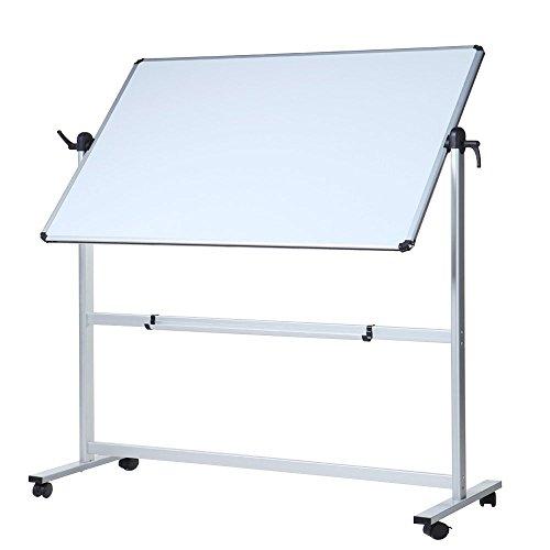 VIZ-PRO Tableau blanc mobile pivotant magnétique Double face, cadre en aluminium 1100 x 750 mm