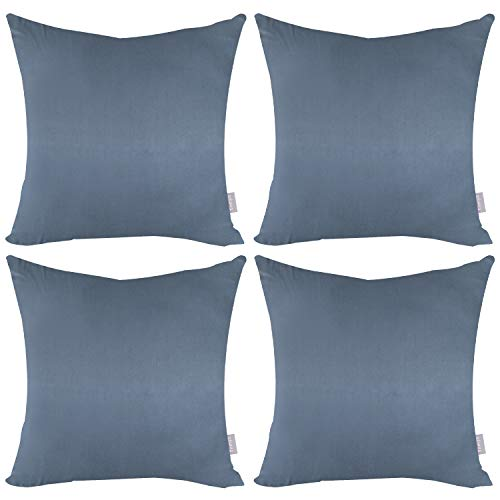 4-Pack Cotton Comfortable Solid Decorative Throw Pillow Case Square Cushion Cover Pillowcase (Cover Only,No Insert)(18x18 inch/ 45x45cm,Dark Grey)