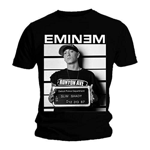 T-Shirt, offizielles Eminem Polizeifoto-Motiv, Schwarz, alle Größen Gr. X-Large, schwarz