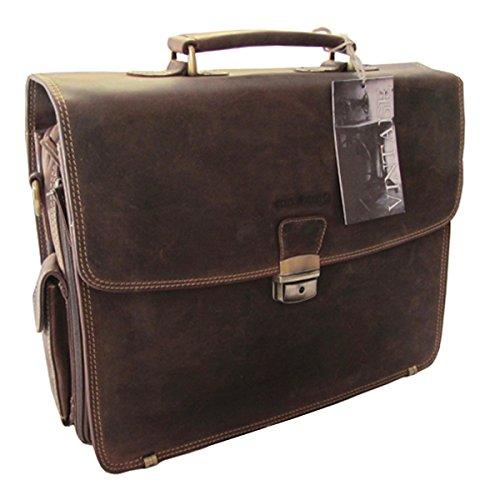 GreenBurry Laptoptasche 15 Zoll Rind-Leder Notebook-Tasche Laptopfach Akten 1718
