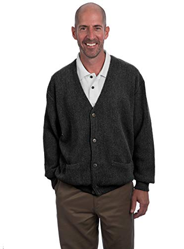 Alpaca Golf - Men's Button Down Cardigan with Pockets (X-Large, Charcoal)