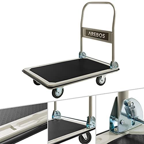 Arebos Plattformwagen | bis 300 kg Tragkraft | mit Lenkrollen | Antirutschbeschichtung | Kantenschutz | klappbar