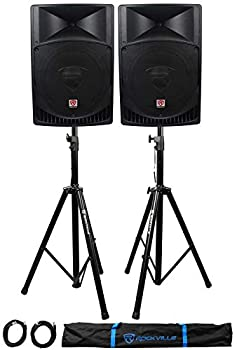 Pair Rockville RPG15 15  2000w Powered PA/DJ Speakers + 2 Stands + 2 Cables+Bag