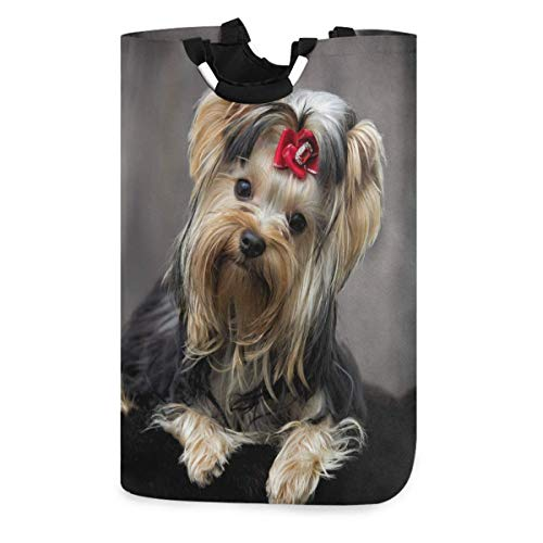 Lsjuee Yorkshire Terrier Dog Looking Laudry Hamper,Waterproof and Foldable Laundry Bag for Storage Dirty Clothes Toys in Bedroom,Bathroom Dorm Room