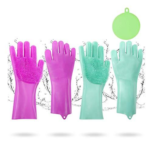umorismo 3 Packung Silikonhandschuhe Scrubbing mit Wash Scrubber und Silikon Dish Washing Scrubber, Wiederverwendbar Silikon Geschirrhandschuhe Magische Handschuhe für Küche, Bad, Auto