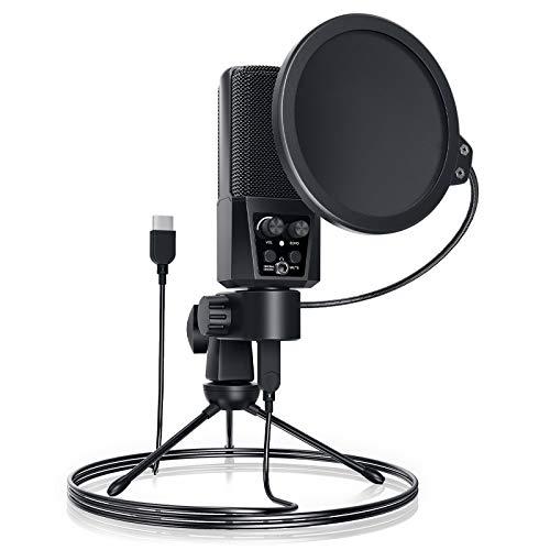 JEEMAK Mikrofon PC,3.5 mm Klinke Desktop-Kondensatormikrofone mit Nierencharakteristik und 192KHZ/24Bit, Physikalische Stummschalttaste,Plug & Play für Podcast, Studio, Streaming, Broadcast, YouTube