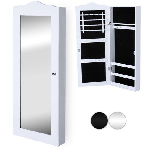 MIADOMODO Armadietto Portagioie - 35x 96x 9 cm, da Appendere a Porta/Parete, MDF, Bianco - Specchiera, Armadio per Gioielli con Specchio