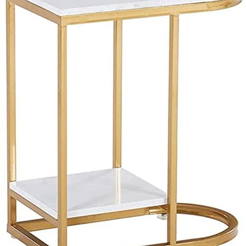 Tavolino da divano, Tavolini Nordic Tavolino in ferro battuto Doppio strato dorato Tavolino da caffè Semplice soggiorno Semplice Soggiorno Divano in marmo Angolo Scaffale da tavolo Tavolo da comodino