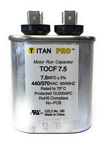 Motor Run Capacitor, 7.5 MFD, 2-3/4 in. H