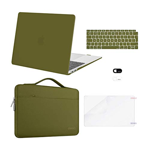 MOSISO MacBook Air 13 inch Case 2020 2019 2018 Release A2337 M1 A2179 A1932,Plastic Hard Case&Bag&Keyboard Skin&Webcam Cover&Screen Protector Compatible with MacBook Air 13 inch Retina, Capulet Olive