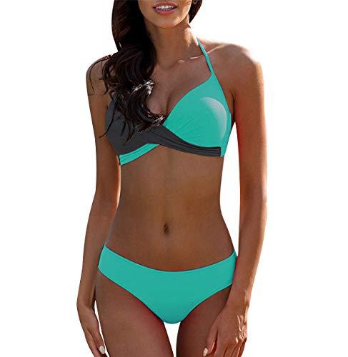 Bikini Push Up Halter Mujer Trajes de Baño de Dos Piezas Biquini Vikini Conjunto de Bikinis con Relleno Señora Bañador Piscina Playa Trikini Mujeres Bañadores Natacion Tallas Grandes Verde Gris S