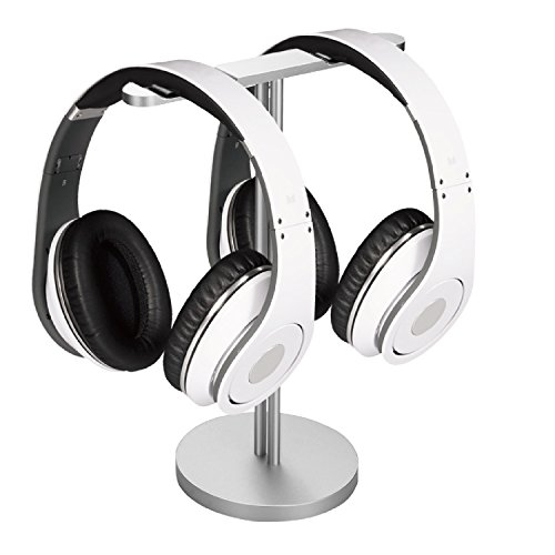 Flexzion Universal Headphone Stand Dual Hanger for Headset with Solid Aluminum Base - Headset Holder Earphone Display Mount Rack Storage for Desk Gamer Classroom Bose Beat Turtle Beach PC (Silver)