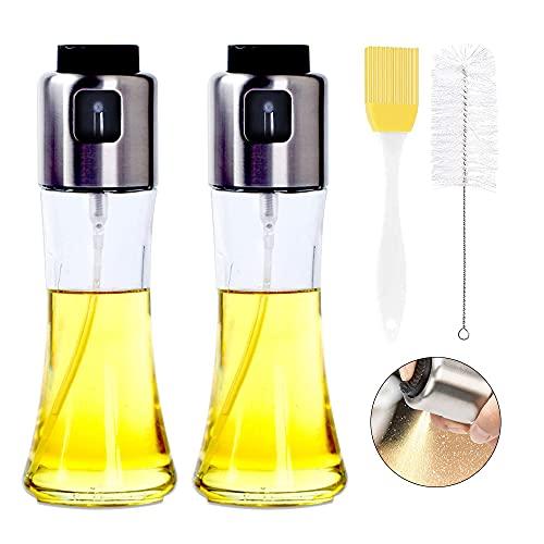 YeenGreen Pulverizador Aceite, 180 ml Aceite Oliva Botella Vidrio Dispensador, 2 Piezas Aceite de Oliva Pulverizador de Vinagre, Spray Aceite Cocina para Cocinar,Ensalada,Hornear,Pan,BBQ