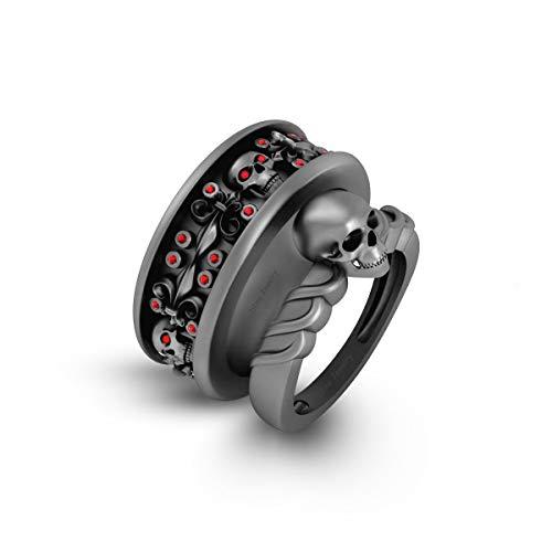 Anillo de compromiso con diseño de calavera de flor de lis de diamante rojo a juego con diseño de calavera gótica, juego de parejas, arma, oro macizo de 10 quilates