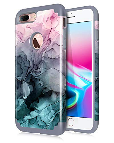 Dailylux iPhone 7 Plus Case,iPhone 8 Plus Case Marble Pattern Girls Women Floral Slim Hybrid Hard PC Soft Silicone Anti-Slip Shockproof Protective Case for iPhone 7 Plus/8 Plus 5.5' Ink Watercolor