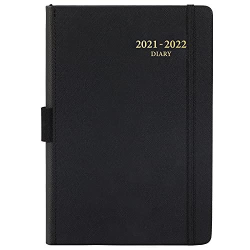 Planificador diario académico 2021-2022: de julio de 2021 a junio de 2022, planificador diario de productividad, con pestañas de mes, bolsillo interior, a rayas, 14,3 x 21 cm