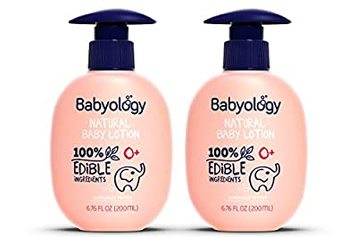 Babyology - Organic Baby Lotion - 100% Edible Ingredients - 6,76 FL. OZ - The Safest All Natural Baby Moisturizer for Newborn Dry and Sensitive Skin - Non Toxic - Good for Eczema (2 Pack)