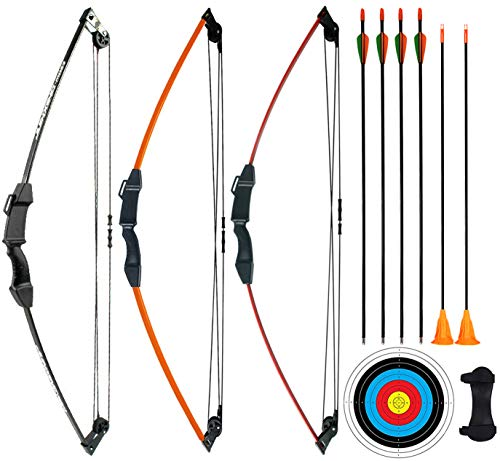 CPTARCH 32' Archery Compound Bow and Arrow Set Two-Wheeled Bow for Sports Game Target Shooting Toy Gift Bow with Safety Fiberglass Arrow and Sucker Arrow for Youth Kids Beginners Juniors (Orange)