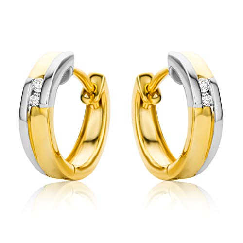 Orovi Damen Ohrringe Bicolor Gelbgold und Weißgold 0.04 Ct Diamant Creolen 14 Karat (585) Gold und Diamanten Brillanten
