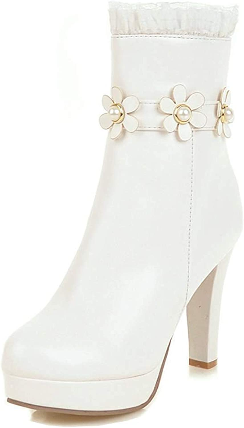 Unm Women's Cute Laces Flower High Heeled Ankle Boots Round Toe Platform Short Booties Zipper