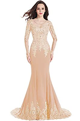 MisShow Crystals Beaded Lace Mermaid Evening Dress For Women Formal With Long Sleeves …