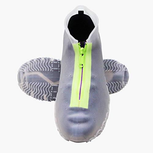 N-B Cubierta de silicona para botas de lluvia, impermeable, con cremallera, para adultos, niños, antideslizante, gruesa, resistente al desgaste, funda de silicona reutilizable