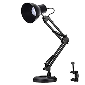 Shellkingdom Architect Task Lamp?Adjustable Swing Arm Desk Lamp with Clamp?Classic Desk Lamp for Home Office Reading (Black-USB)