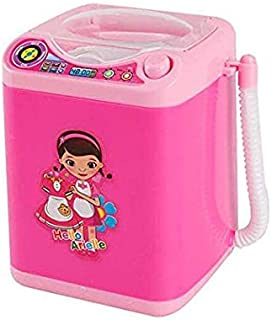 MAKEUP BRUSH CLEANER SPINNER MACHINE - Electronic Mini Washing Machine Shape Automatic Makeup Brush Cleaner Dries Deep Cleaning for Brushes, Sponge and Powder Puff Tiktok Toy (Pink)