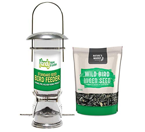 1 x Handy Home and Garden Deluxe Wild Bird Seed Feeder with 0.9KG bag of Niger Seed Feed