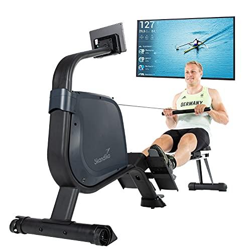 Skandika Rudergerät Njord | Ruderergometer mit 16 Stufen, klappbar, Studioqualität, 8 kg Schwungmassensystem, max. 180 kg, Lange Laufschiene, Kinomap, Bluetooth, | Fitnessgerät für Zuhause