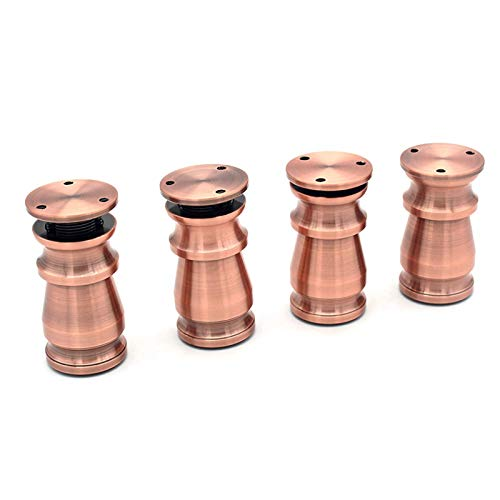 Aluminio Ajustable 80 mm Patas de Muebles Gabinetes Mesas Tablas Sofá Pies con Base de Goma Antideslizante Red Retro Conjunto de 4pcs