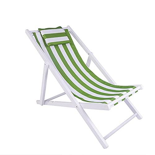 liegestuhl Schwerelosigkeit Klappbare Liegen, Liegestuhl Aus Holz, Bogendesign, Höhenverstellbar, Leicht zu Tragen, Unterstützung 150kg(Color:Grüner Balken)