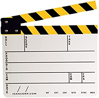 Professional Studio Camera Photography Video Acrylic Clapboard Dry Erase Director Film Movie Clapper Board Slate with Yellow/Black Sticks(9.6x11.7