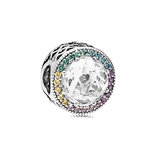 LILANG Pandora 925 joyería Pulsera Plata esterlina océano corazón Copo de Nieve Ojo de Gato arcoíris Pulsera con Collar de Accesorios de Bricolaje A8 Encanto Mujeres Regalos de Bricolaje